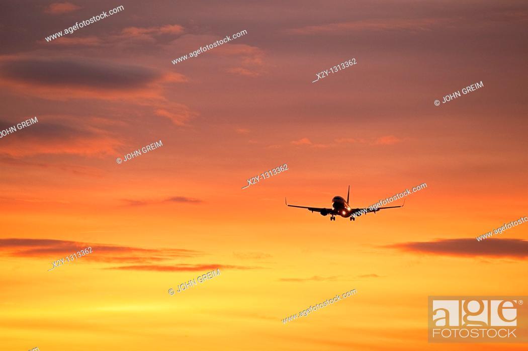 Stock Photo: Jet airlpane in flight.