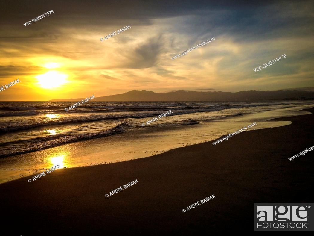 Stock Photo: Beach sunset, Mexico.