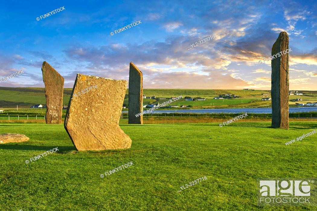 Stock Photo: Neolithic Standing Stones of Stenness, Isle of Orkney, Scotland.