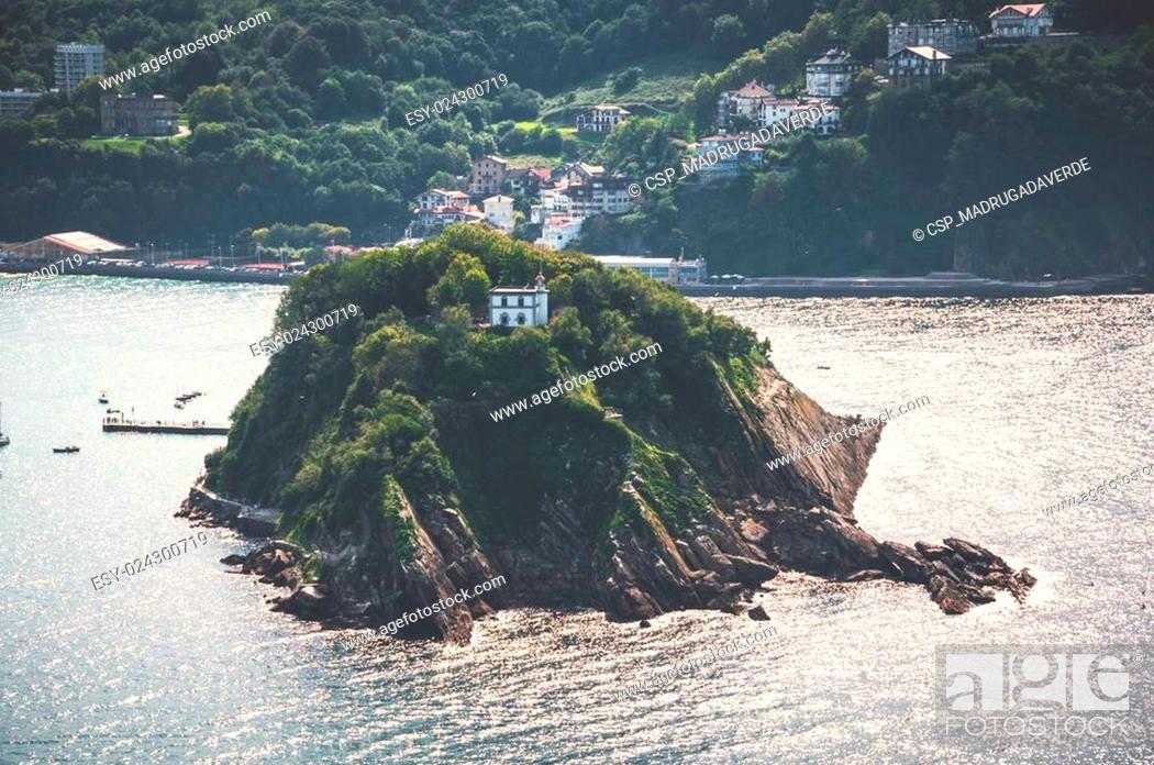 Stock Photo: Santa Clara island in San Sebastian, Spain.
