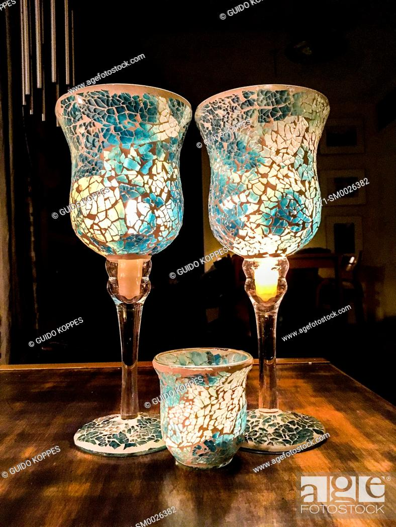 Imagen: Tilburg, Netherlands. Two Candle Vases and a Small One on a living room table after being exported and smuggled from Germany to The Netherlands.