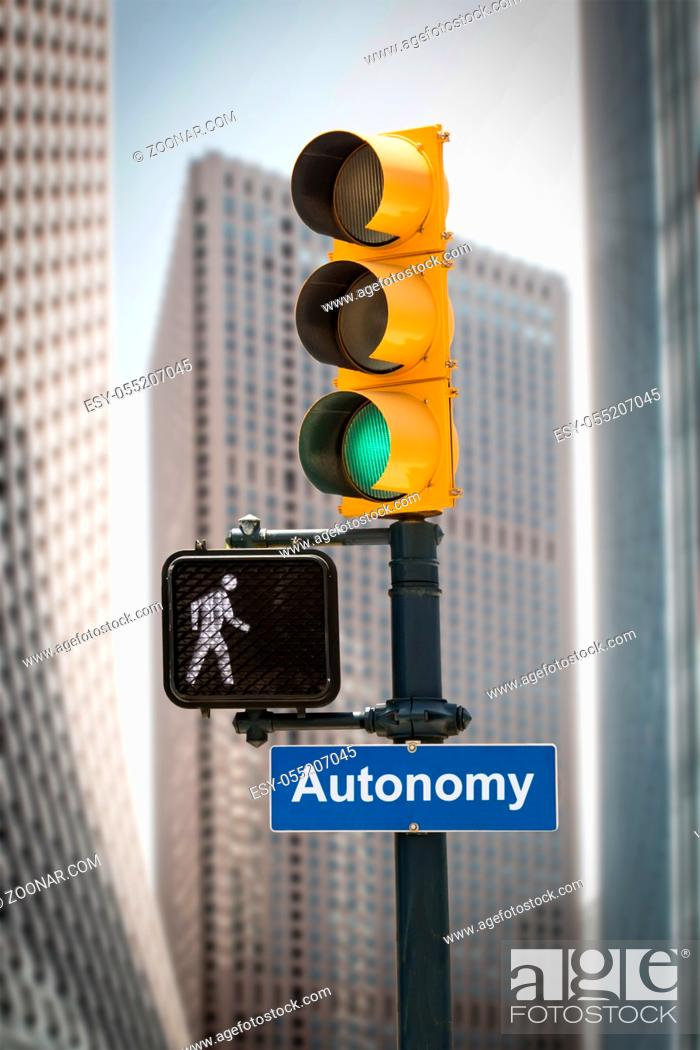 Stock Photo: Street Sign the Direction Way to Autonomy.