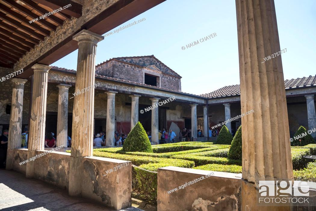 Stock Photo: Arcaded Court of the Roman house in Pompeii, archaeological site, Campania region, Italy.