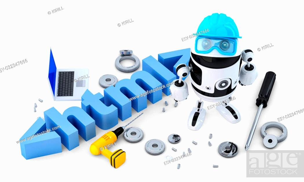 Stock Photo: Robot with HTML sign. Technology concept. Isolated on white background. Contains clipping path.