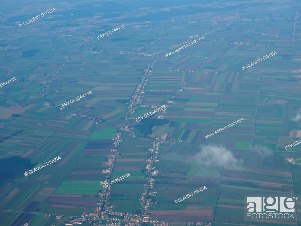 Stock Photo: aerial view of Germany landscape between Koeln and Muenchen.