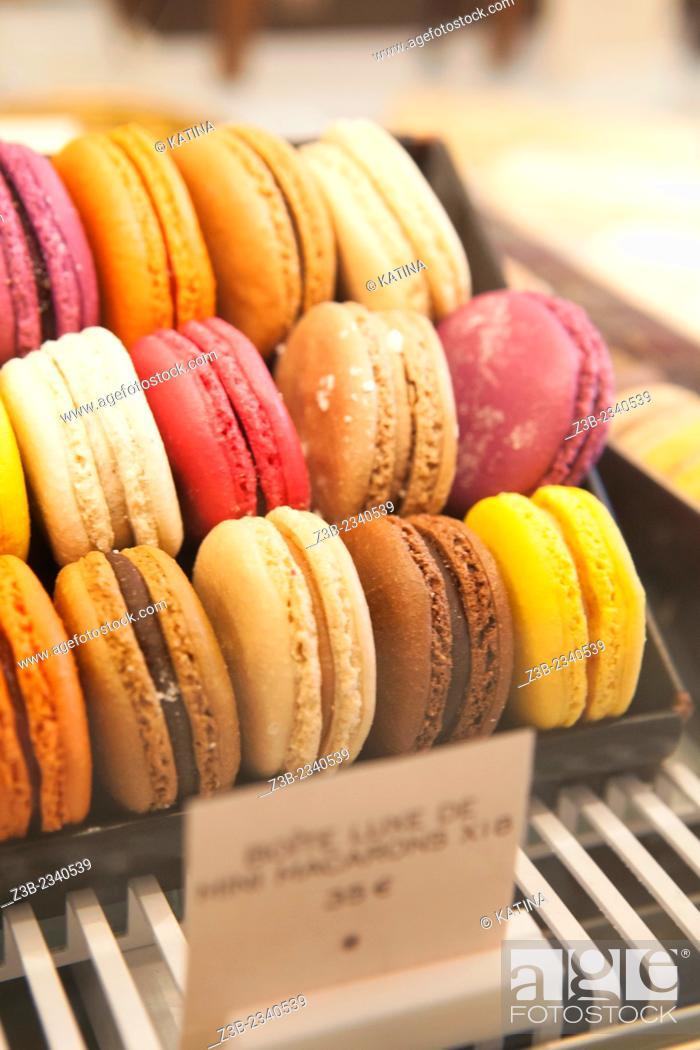 Stock Photo: Close-up of macarons at Angelina, Rivoli Street, Rue de Rivoli, Paris, France, Europe.