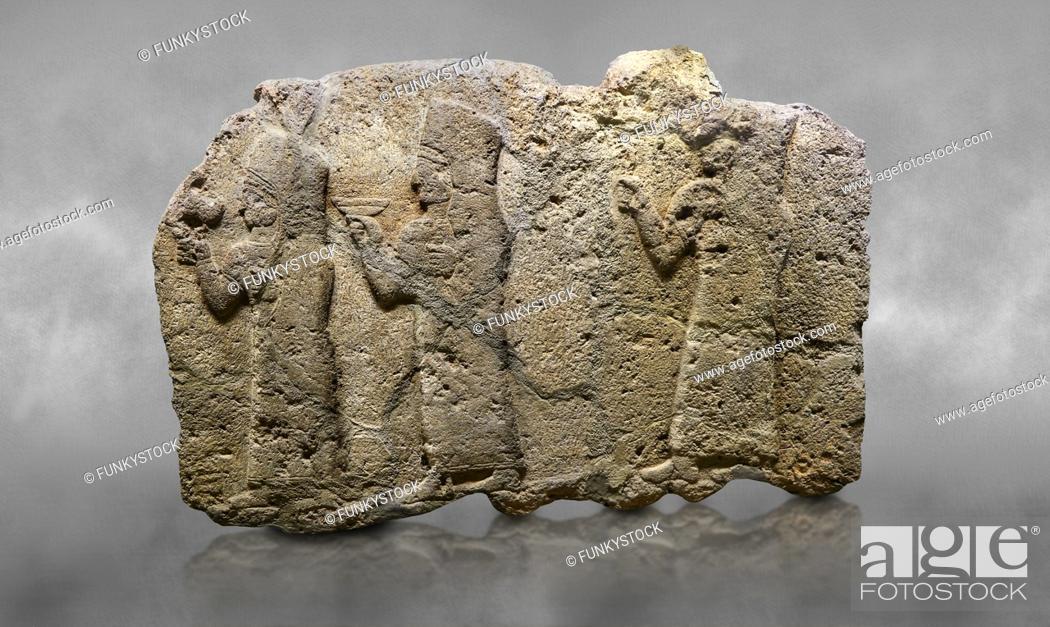 Stock Photo: Hittite monumental relief sculpted orthostat stone panel of a Procession. Limestone, Karkamıs, (Kargamıs), Carchemish (Karkemish), 900 - 700 B. C.