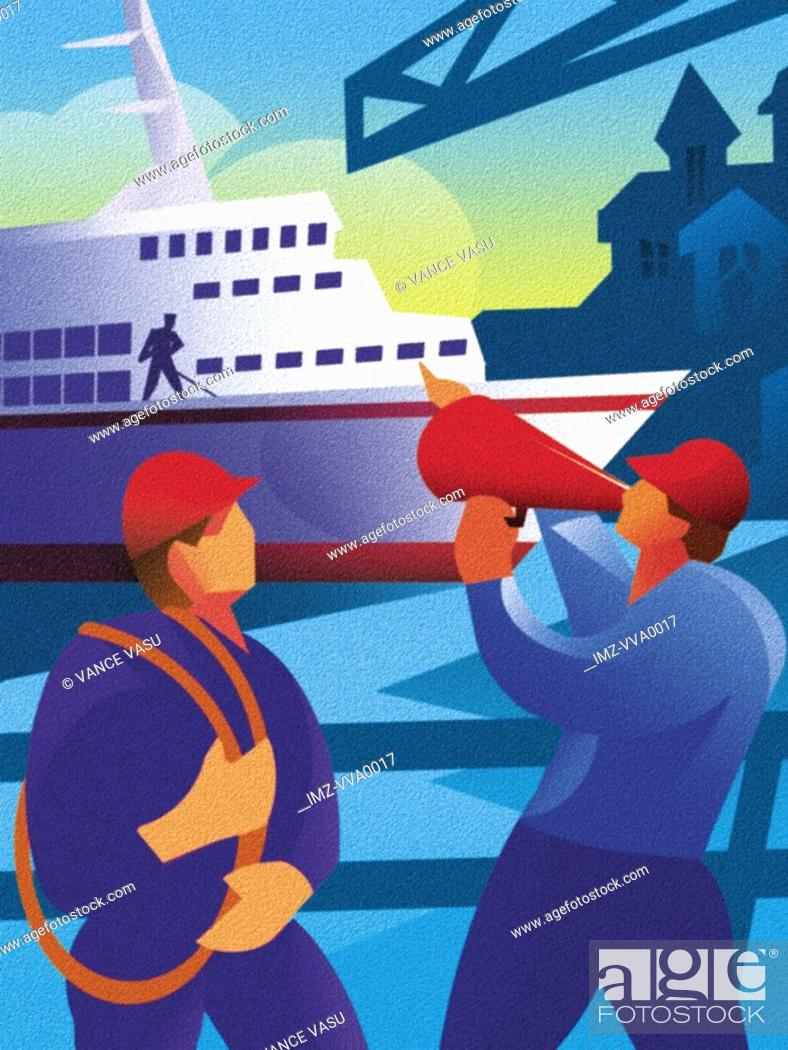 Stock Photo: An illustration of two construction workers and in the background is a cruise ship.