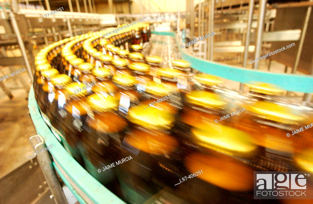 Stock Photo: Beer bottle factory production line.