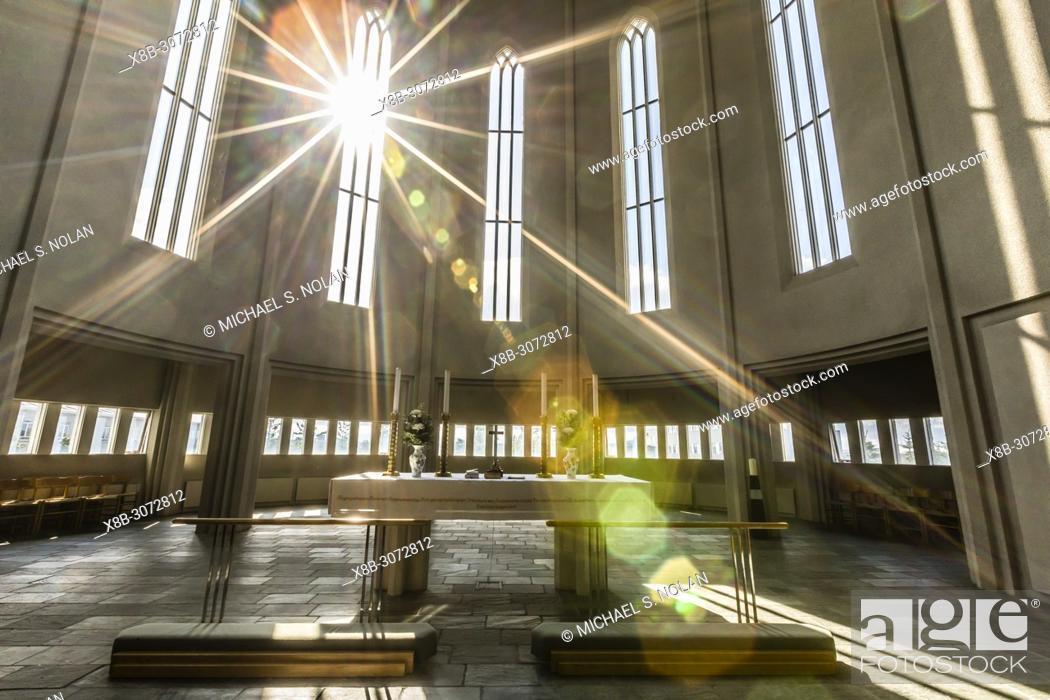 Stock Photo: Interior view of Hallgrímskirkja, the largest Lutheran church in Reykjavík, Iceland.