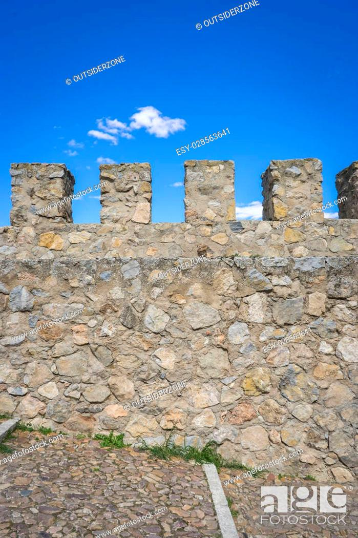 Stock Photo: medieval castle of Consuegra in the province of Toledo, Spain.