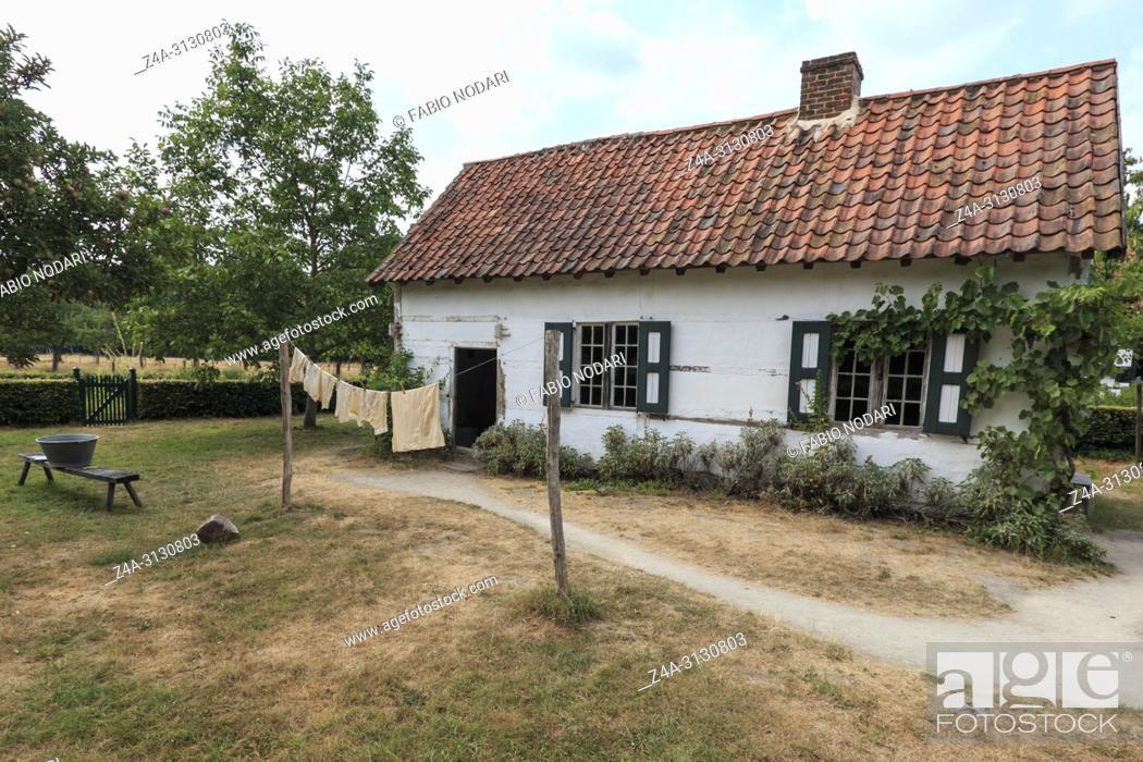Stock Photo: Old farmhouse in Bokrijk, Belgium.