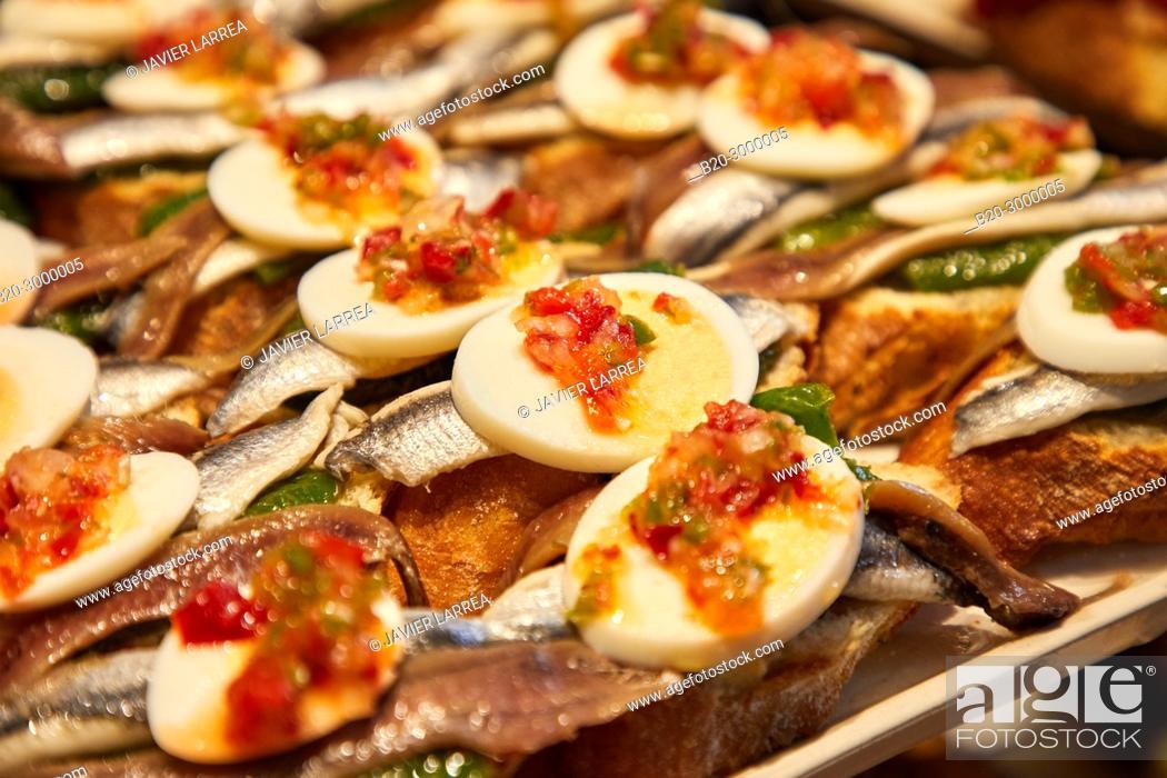 Stock Photo: Anchovies and boiled egg, Pintxos, Bar Restaurante Portaletas, Parte Vieja, Old Town, Donostia, San Sebastian, Gipuzkoa, Basque Country, Spain.