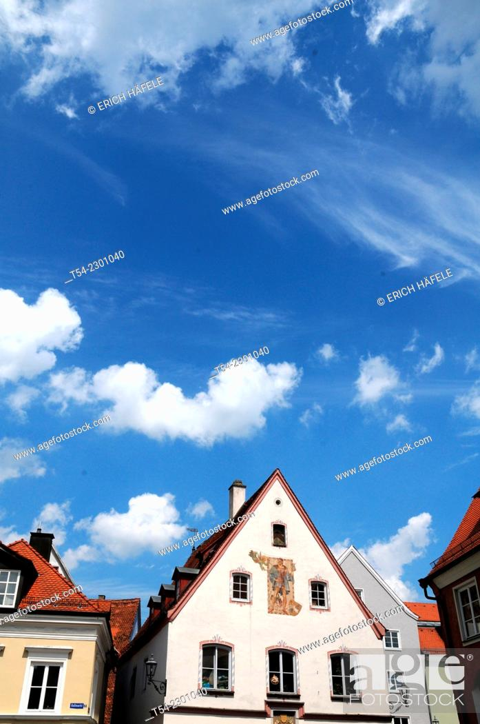 Stock Photo: Historic houses on the Horse Market in Memmingen, Germany.