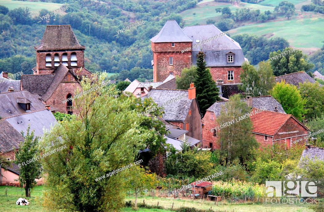 Stock Photo: View on the village of Pruines, Puech, Aveyron, Occitanie, Midi, Pyrénées.