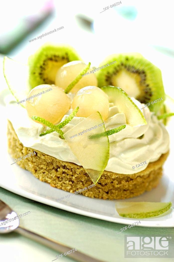 Stock Photo: Matcha green tea cake.