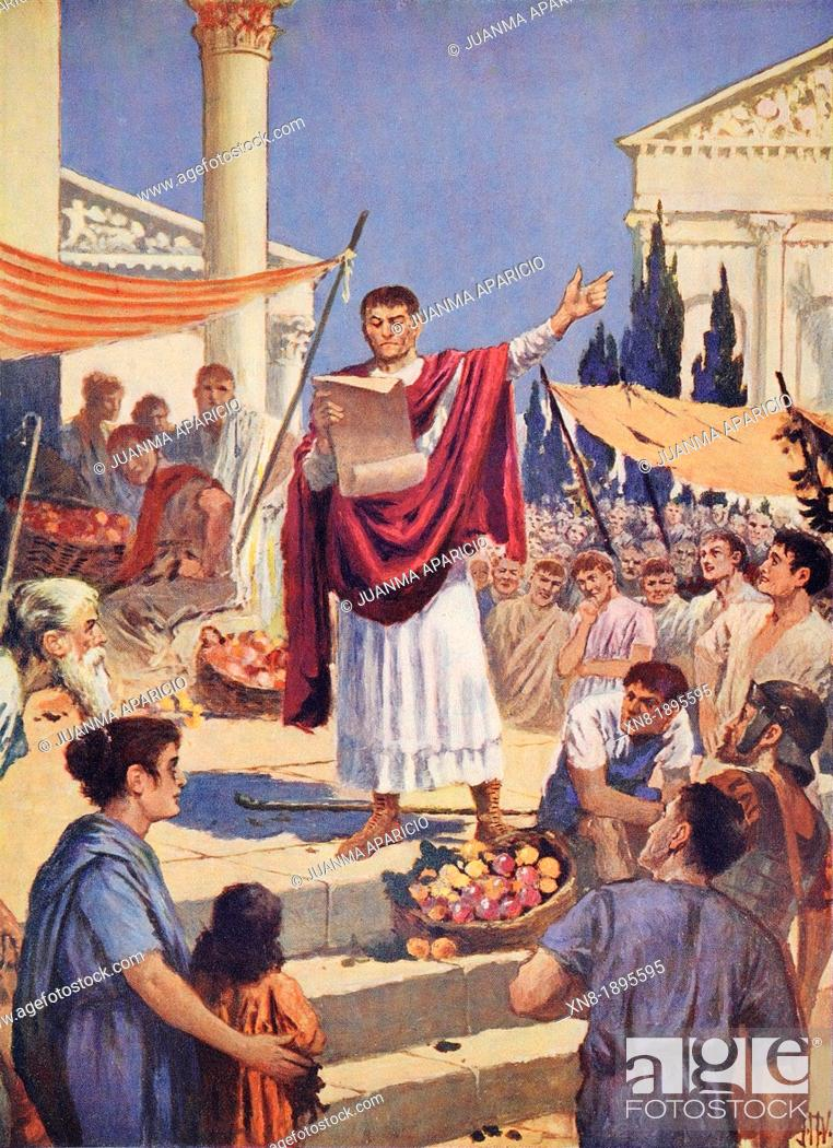 Imagen: Proclamation of the Edict of Milan in February 313 by J. H. Valda.