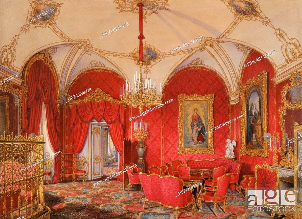 Stock Photo: Interiors of the Winter Palace. The Fourth Reserved Apartment. The Corner Room, 1868. Found in the collection of the State Hermitage, St. Petersburg.