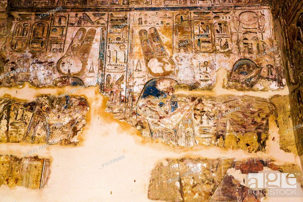 Stock Photo: Ancient Thebes (UNESCO World Heritage List, 1979). Luxor. Karnak. Great Temple of Amon. Sanctuary of Sacred Boats. Painted reliefs, Egypt.