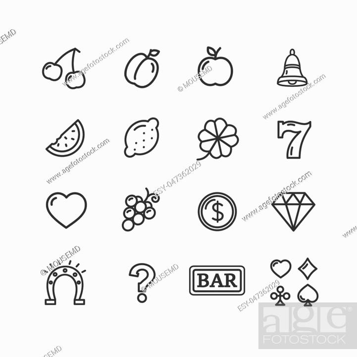 Stock Vector: Slot Machine Icons Thin Line Set Luck and Fortune in Casino Pixel Perfect Art. Material Design. Vector illustration.