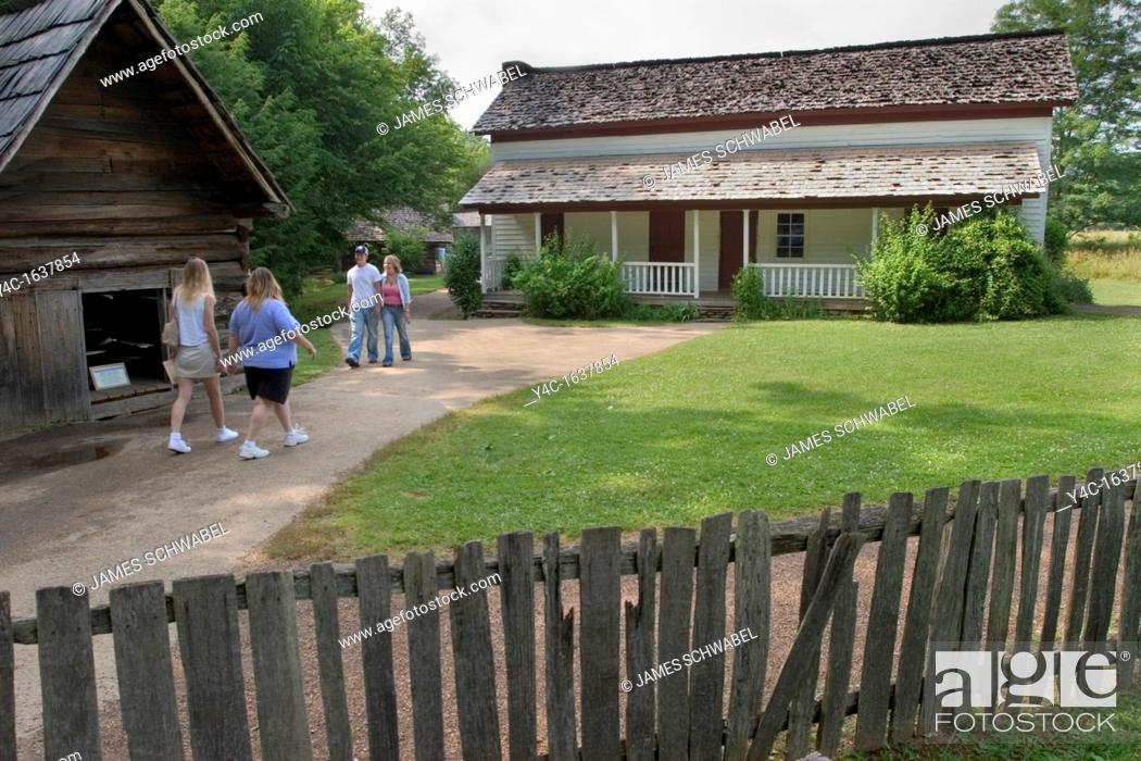 Stock Photo: Gregg-Cable house in the Cable Mill area of Cades Cove in the Great Smoky Mountains National Park, Tennessee.