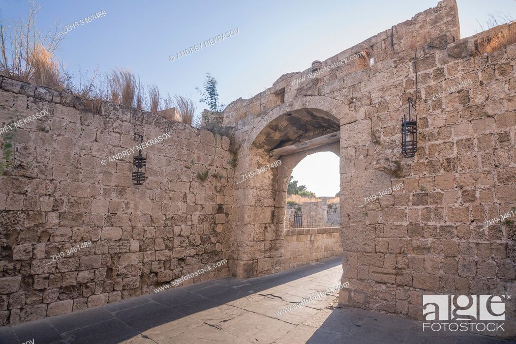 Stock Photo: Cityscape of medieval city inside of Fortifications of Rhodes. Greece.