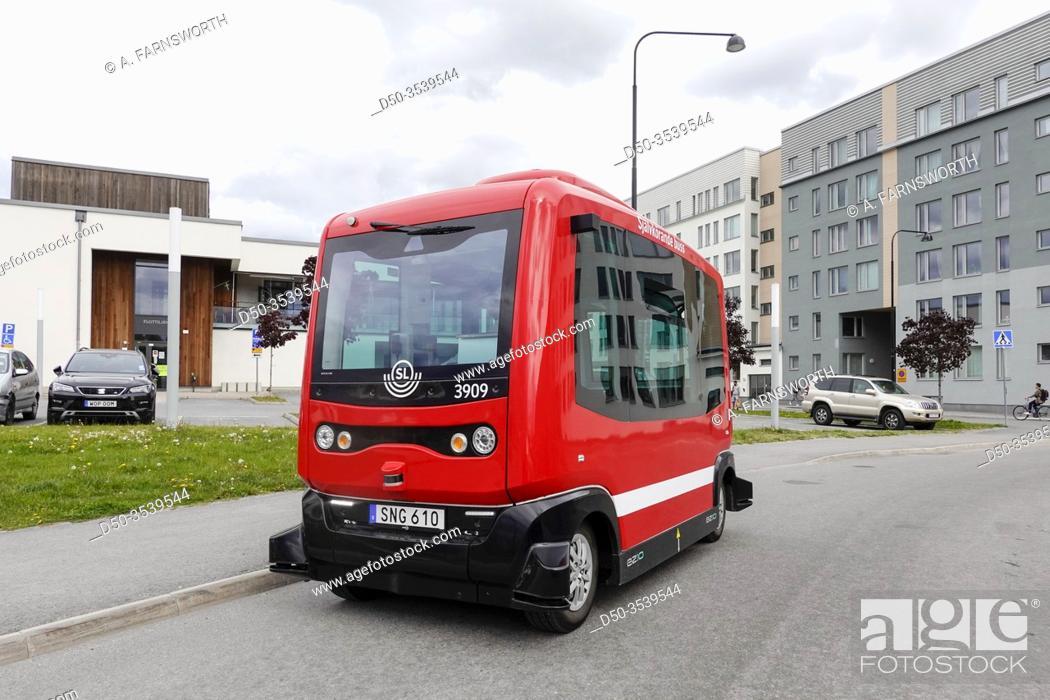 Stock Photo: Stockholm, Sweden A self-driving bus in Barkabystaden, a new urban development.