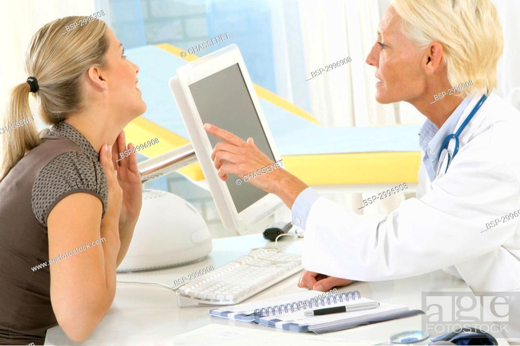Stock Photo: CONSULTATION, WOMAN IN PAIN Models.