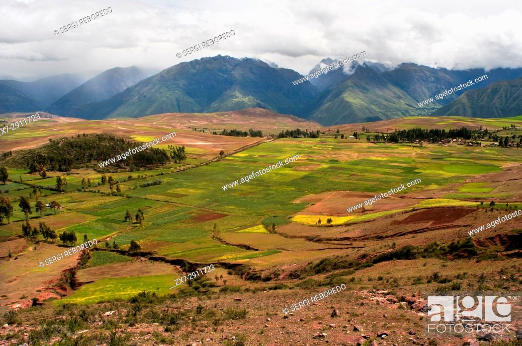Stock Photo: Landscape in the Sacred Valley near Cuzco. The Sacred Valley of the Incas or the Urubamba Valley is a valley in the Andes of Peru.