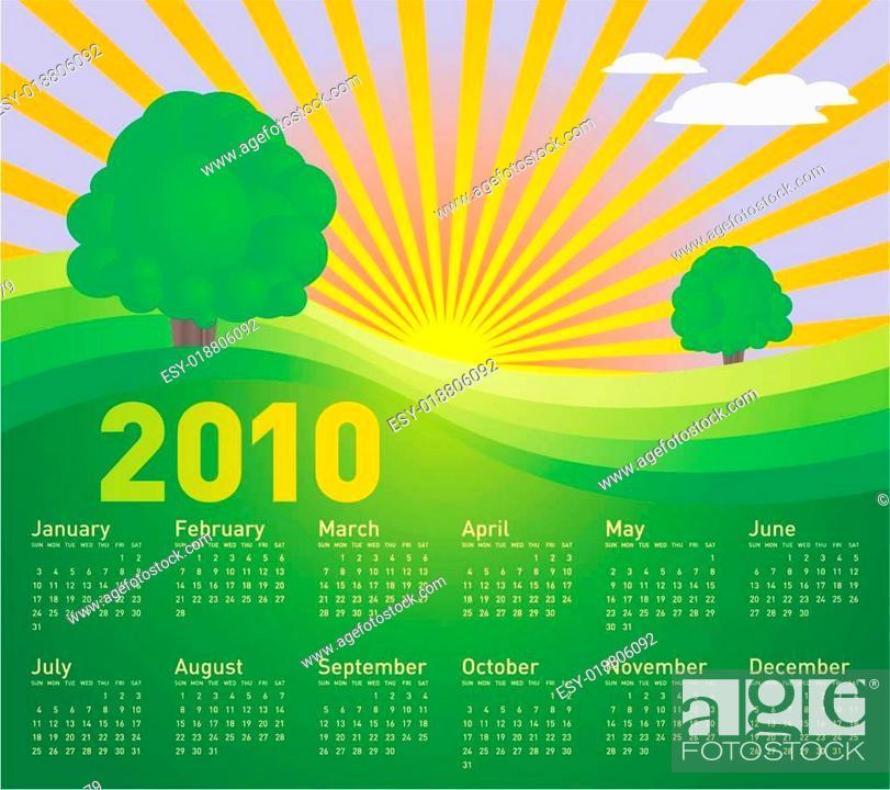 Stock Vector: Landscape Calendar 2010.