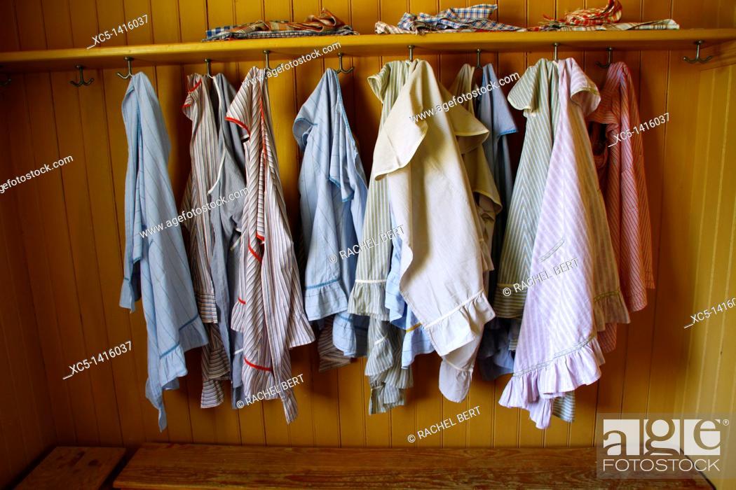 Stock Photo: School coats, Old School, Skansen, Djurgården, Stockholm, Sweden, Scandinavia, Europe.