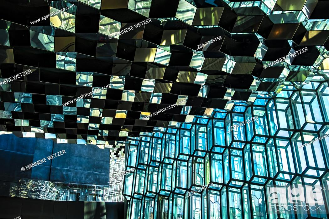Stock Photo: Harpa Concert Hall and Conference Centre in Reykjavic, Iceland. Designed by the Danish firm Henning Larsen Architects in collaboration with Danish-Icelandic.