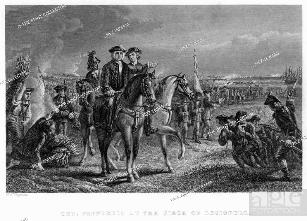 Stock Photo: General Pepperell at the Siege of Louisburg, Canada, 18th century. Sir William Pepperrell (1696-1759) was a merchant and soldier in Colonial Massachusetts.