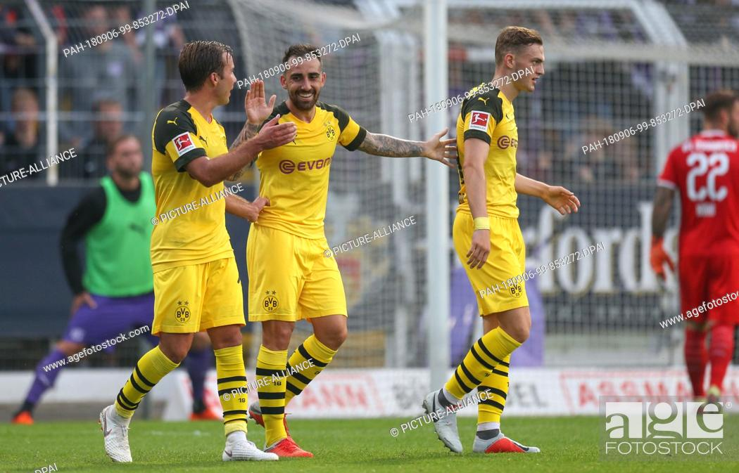 Stock Photo: 06 September 2018, Germany, Osnabrueck: Soccer, Test match, VfL Osnabrueck vs Borussia Dortmund, in the stadium at the Bremer Bruecke.