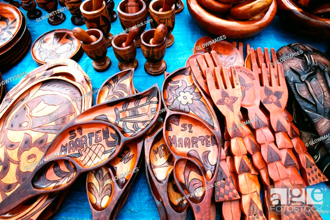 Stock Photo: An exhibition of souvenirs in wood, St. Martin.