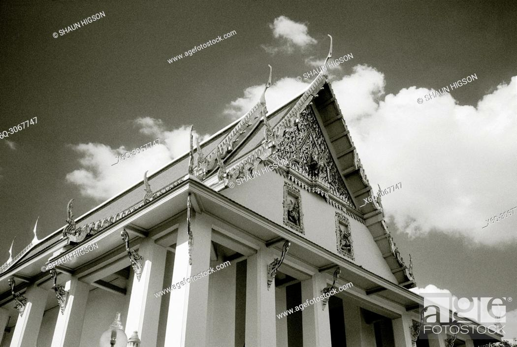 Stock Photo: The ubosot of Buddhist temple Wat Hong Rattanaram in Bangkok in Thailand in Southeast Asia Far East.