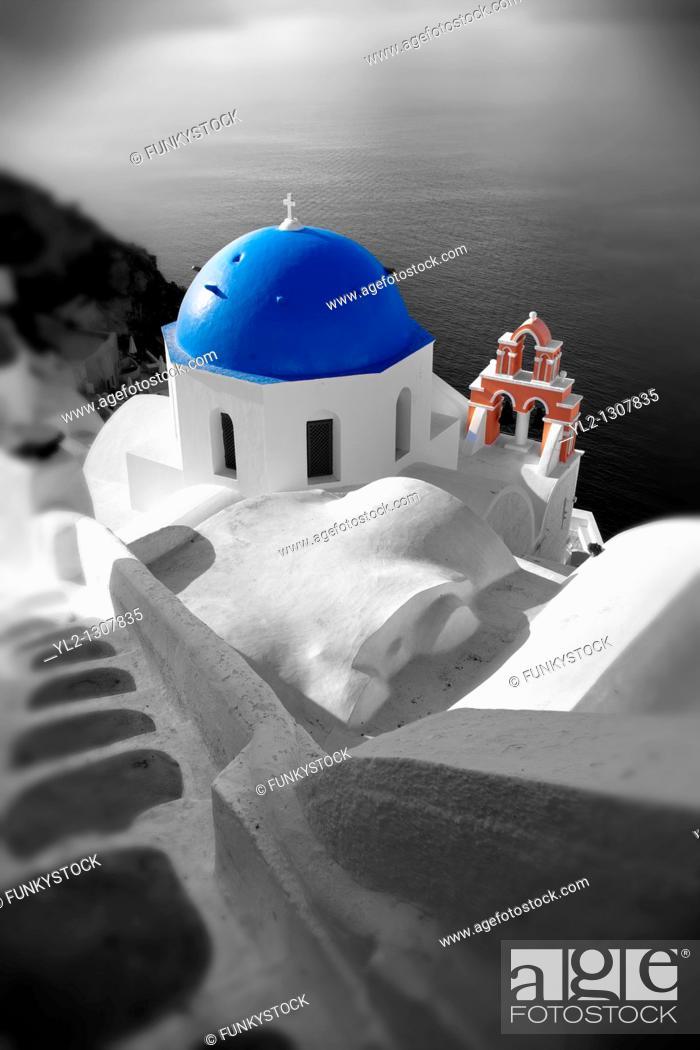 Stock Photo: Oia, Ia Santorini - Greek Cyclades islands.
