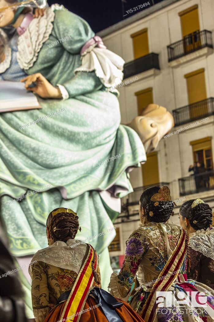 Stock Photo: Falleras looking La Plantà. Fallas 2018. Valencia. Spain.