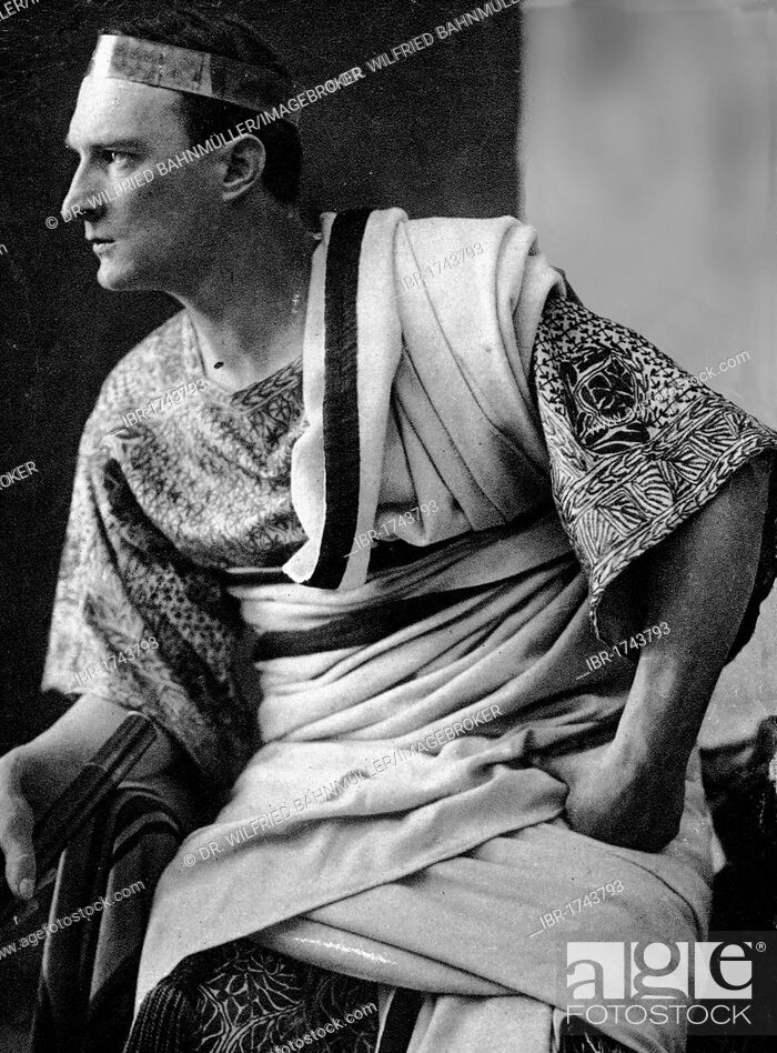 Stock Photo: Pontius Pilate, black and white postcard, Passion Play Oberammergau 1930, Upper Bavaria, Germany, Europe.