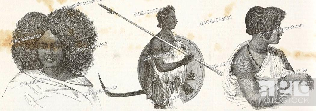 Serae woman, Abyssinian lancer with shield and sword, Amhara woman