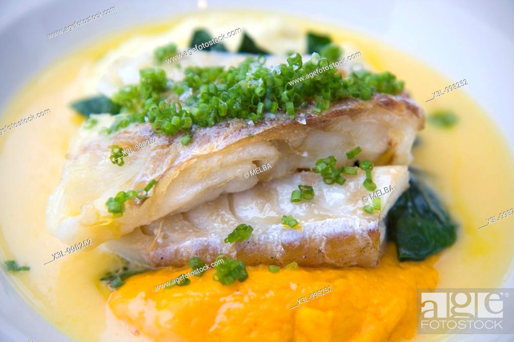 Stock Photo: Cod with pureed vegetables.