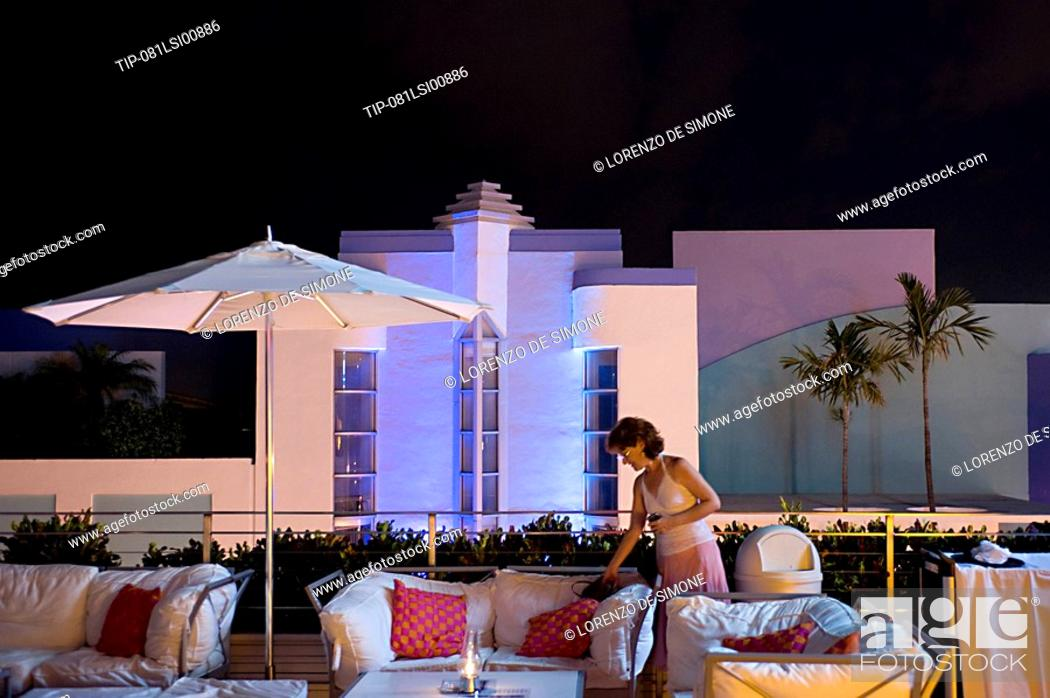 Stock Photo Usa Florida Miami South Beach Art Deco District Tiffany Hotel