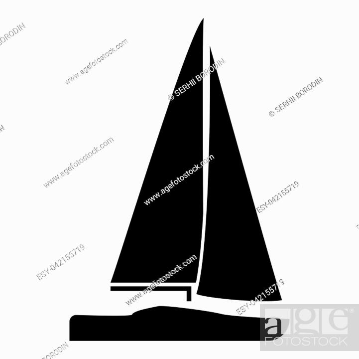 Vector: Yacht icon black color vector illustration flat style simple image.