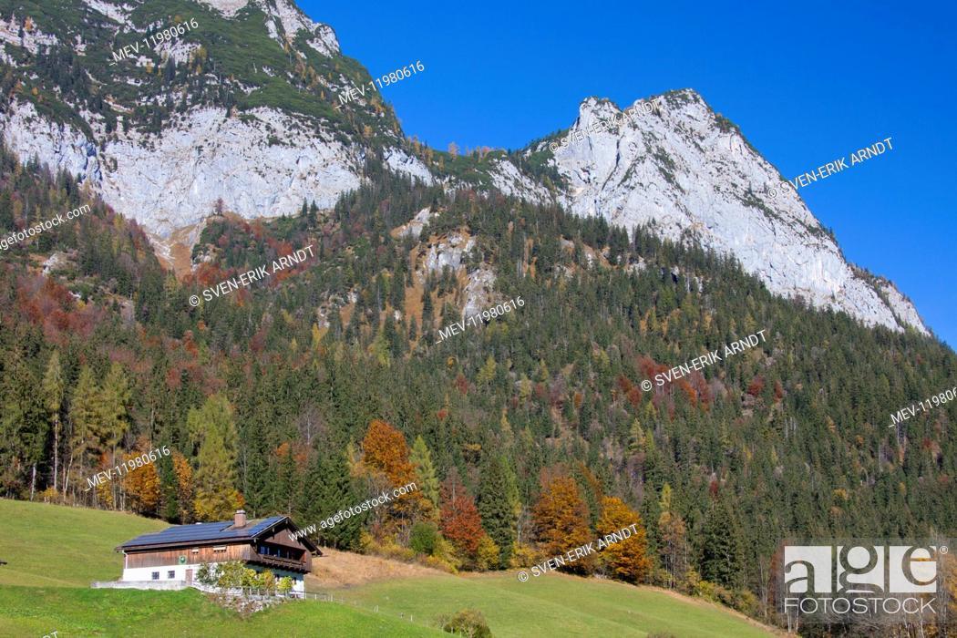 Stock Photo: House near Hintersee at Ramsau Berchtesgadener Land Germany.