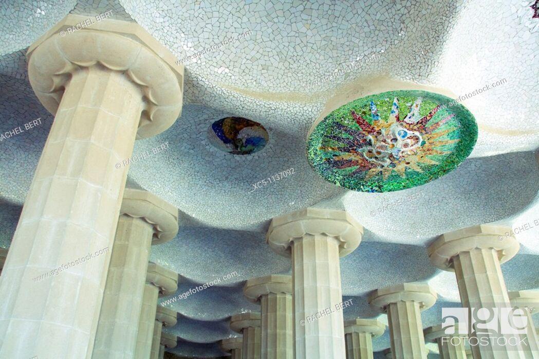 Stock Photo: Hypostyle hall, Park Güell Gaudí, 1900-1914, Barcelona, Catalonia, Spain.