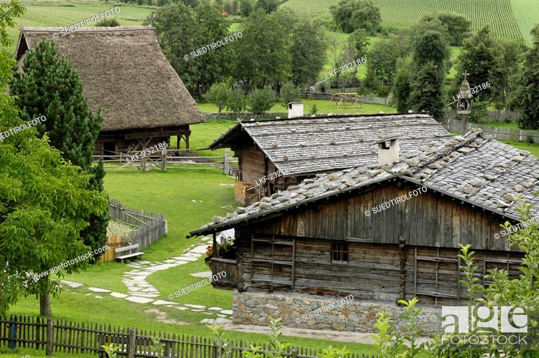 Stock Photo: Farmhouse and hay barn in the South Tyrolean local history museum at Dietenheim, Puster Valley, South Tyrol, Italy.