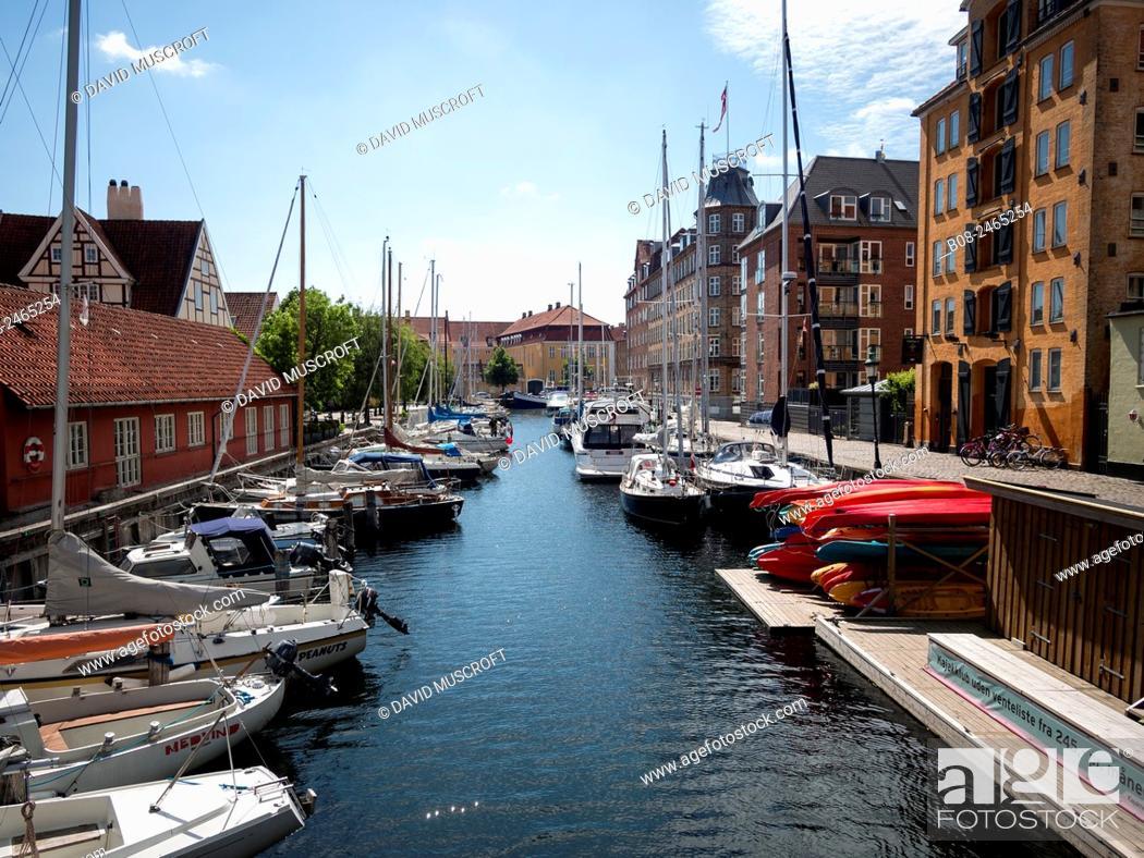 Stock Photo: Modern apartments and boats at Christianshavn harbour area,Copenhagen,Denmark.