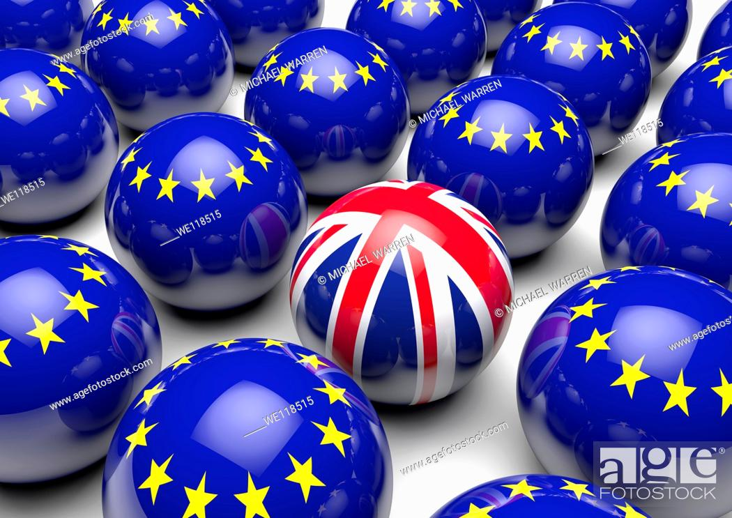 Stock Photo: Close up of many balls with the European Flag and one ball with the United Kingdom's Union Flag - Concept image.