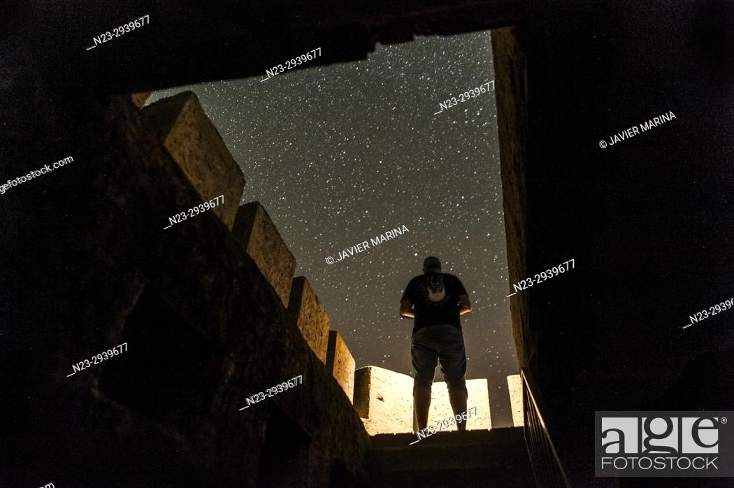 Stock Photo: Stars from the Remedio peak, Chelva, Valencia, Spain.
