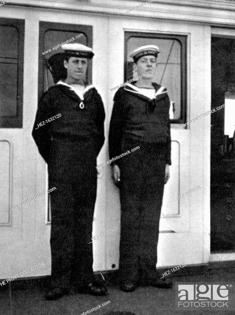 Stock Photo: Two ship's boys on the royal yacht Victoria and Albert III, 1908. From Queen Alexandra's Christmas Gift Book, Photographs from My Camera, by Queen Alexandra.